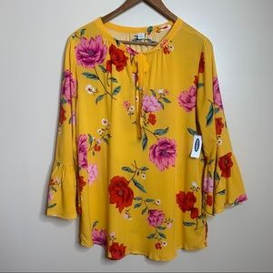 3/$20 Old Navy Mustard Yellow Pink Floral Blouse